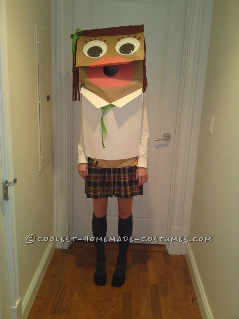 Original and Inexpensive School Girl Paper Bag Puppet Costume