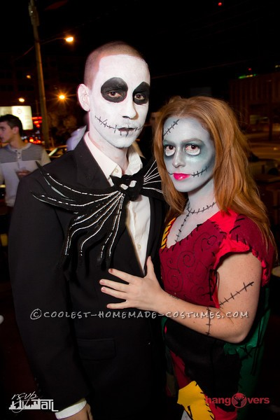 Jack and Sally Skelington with Awesome Makeup Details
