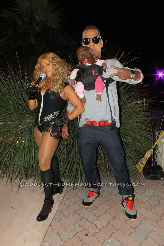 Funny Illusion Couple Costume: Jay-Z, Beyonce and Blue Ivy