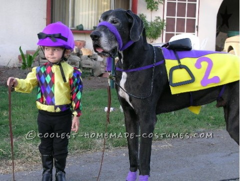 Coolest Jockey and Horse Costume: Off to the Races!