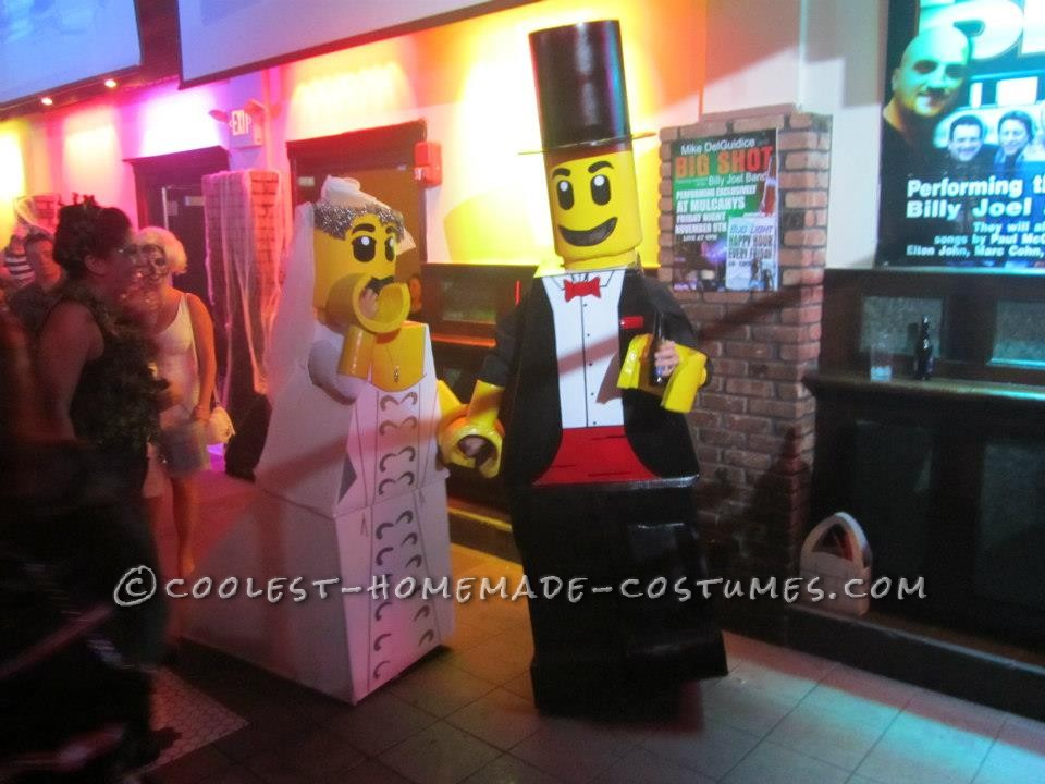 Cool Homemade LEGO Bride and Groom Couple Halloween Costume