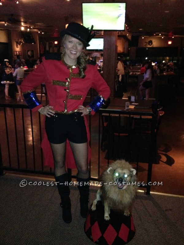 Cool Dog and Owner Couple Costume: Lion Tamer and Her Ferocious Lion!