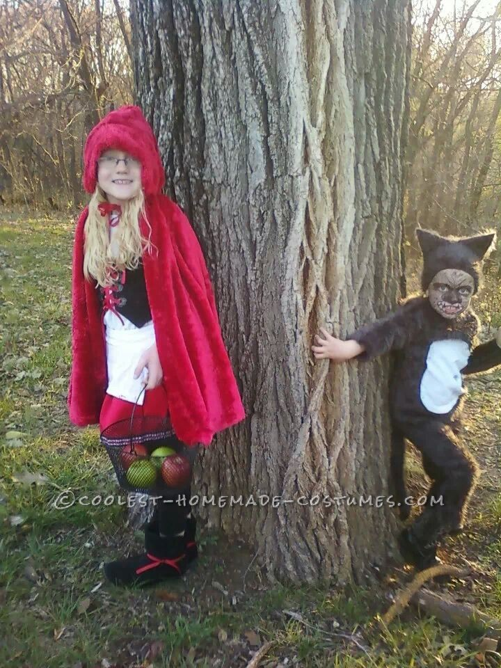 Cool DIY Couple Costume for Brother and Sister: Little Red Riding Hood and the Big Bad Wolf