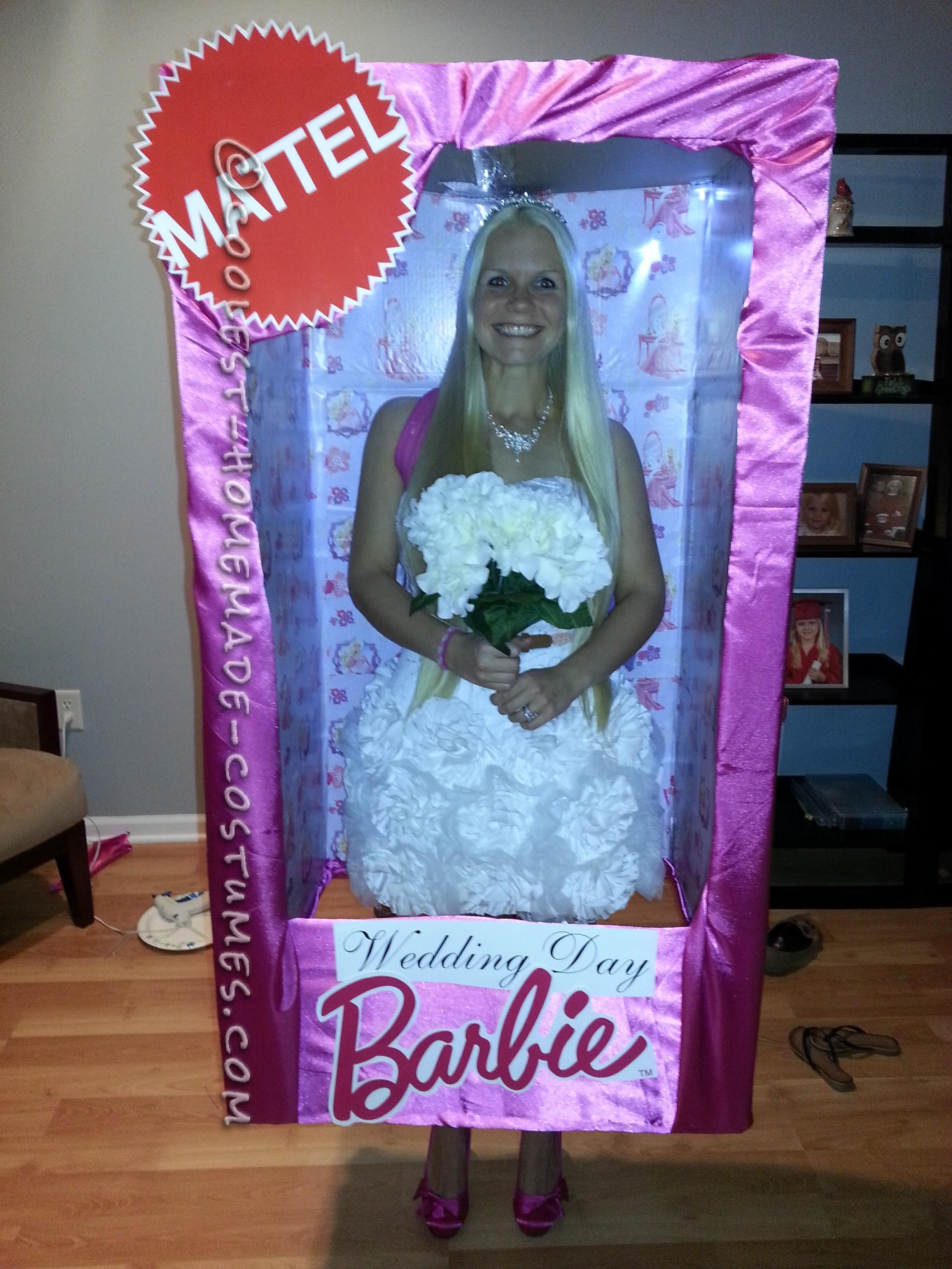 Look-a-Like Wedding Day Barbie-in-a-Box Homemade Halloween Costume