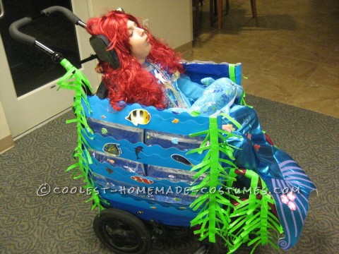Cool Wheelchair Costume Idea: Mermaid in a Wheelchair with Real Water