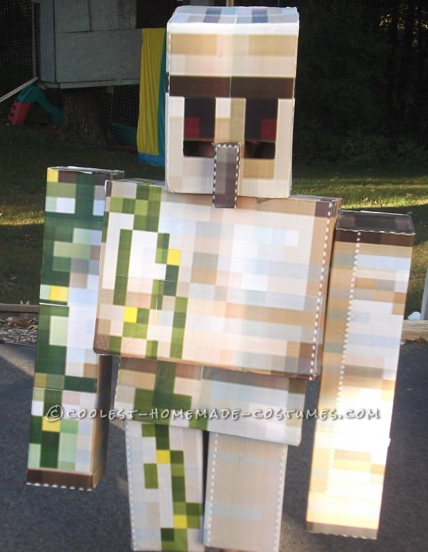 Cool DIY Cardboard Box Costumes: Minecraft Iron Golem and Herobrine - 3