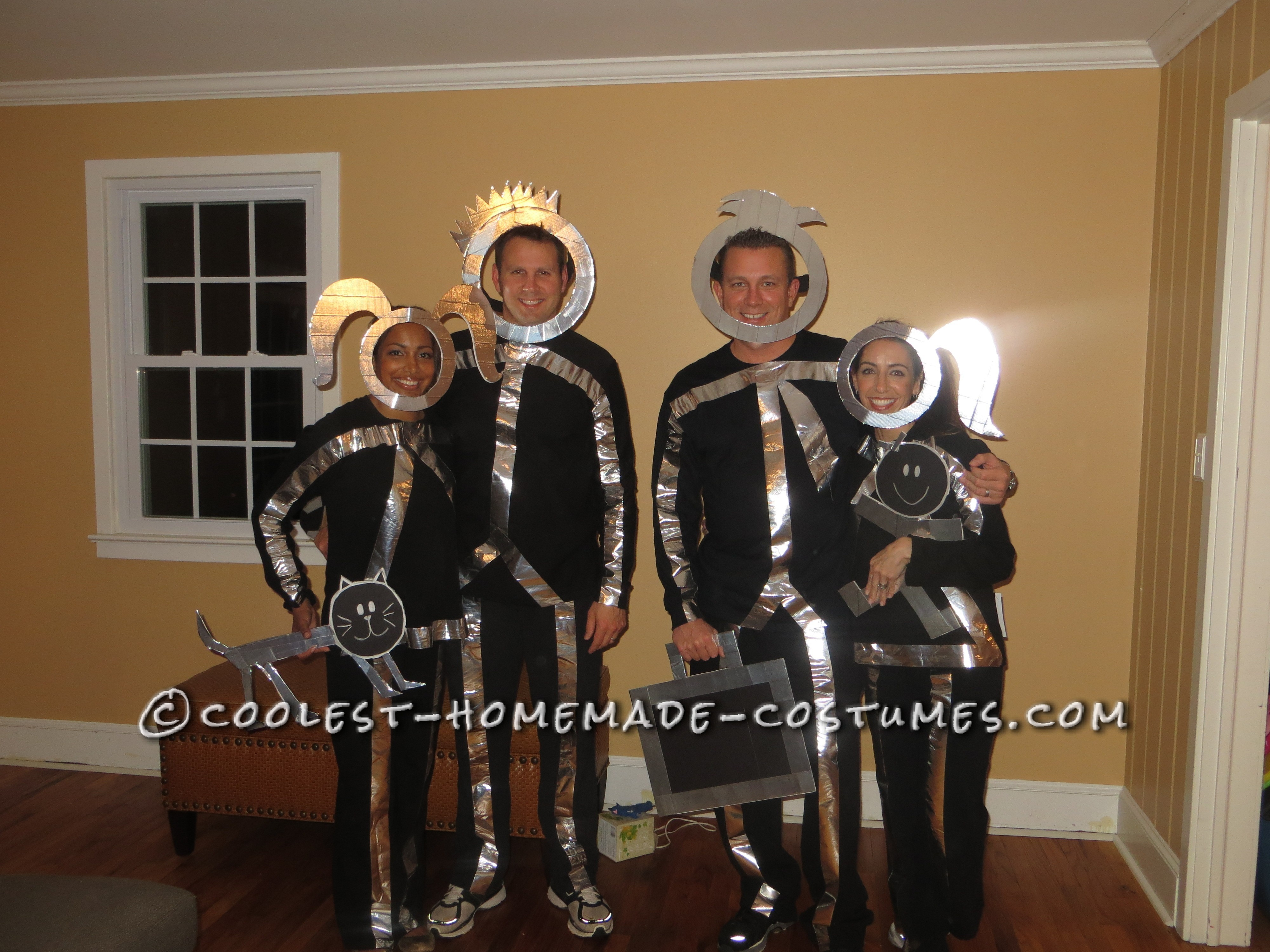 Easy and Original Group Costume Idea: Minivan Stick Figure Family Costume