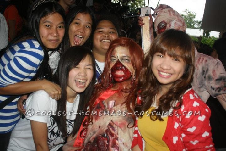 Grotesque Zombie Costume with Bloody Stomach and a Zipper Face - 5