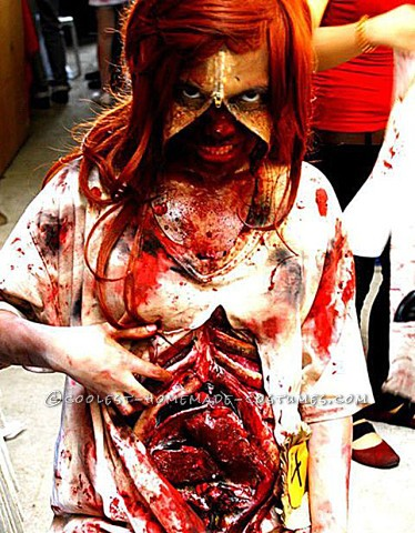 Grotesque Zombie Costume with Bloody Stomach and a Zipper Face