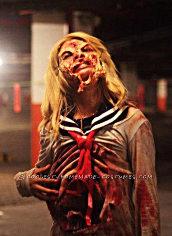 Grotesque Zombie Costume with Bloody Stomach and a Zipper Face - 2