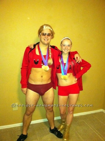 Cool Homemade Misty May and Kerri Walsh Olympic Swimmers Couple Costume