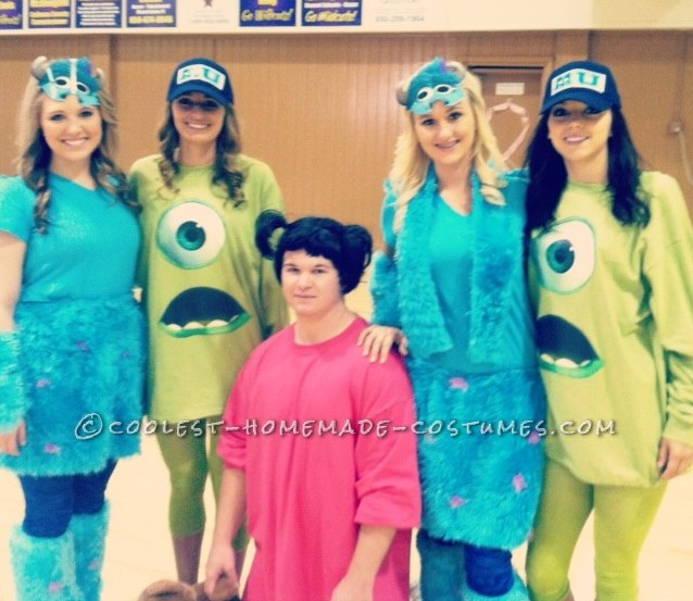 Cool Homemade Group Costume Idea: Monsters Inc. Crew