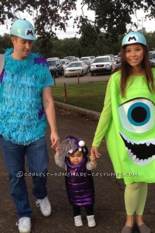 Cool DIY Monsters Inc. Family Costume: Sully, Mike and Boo