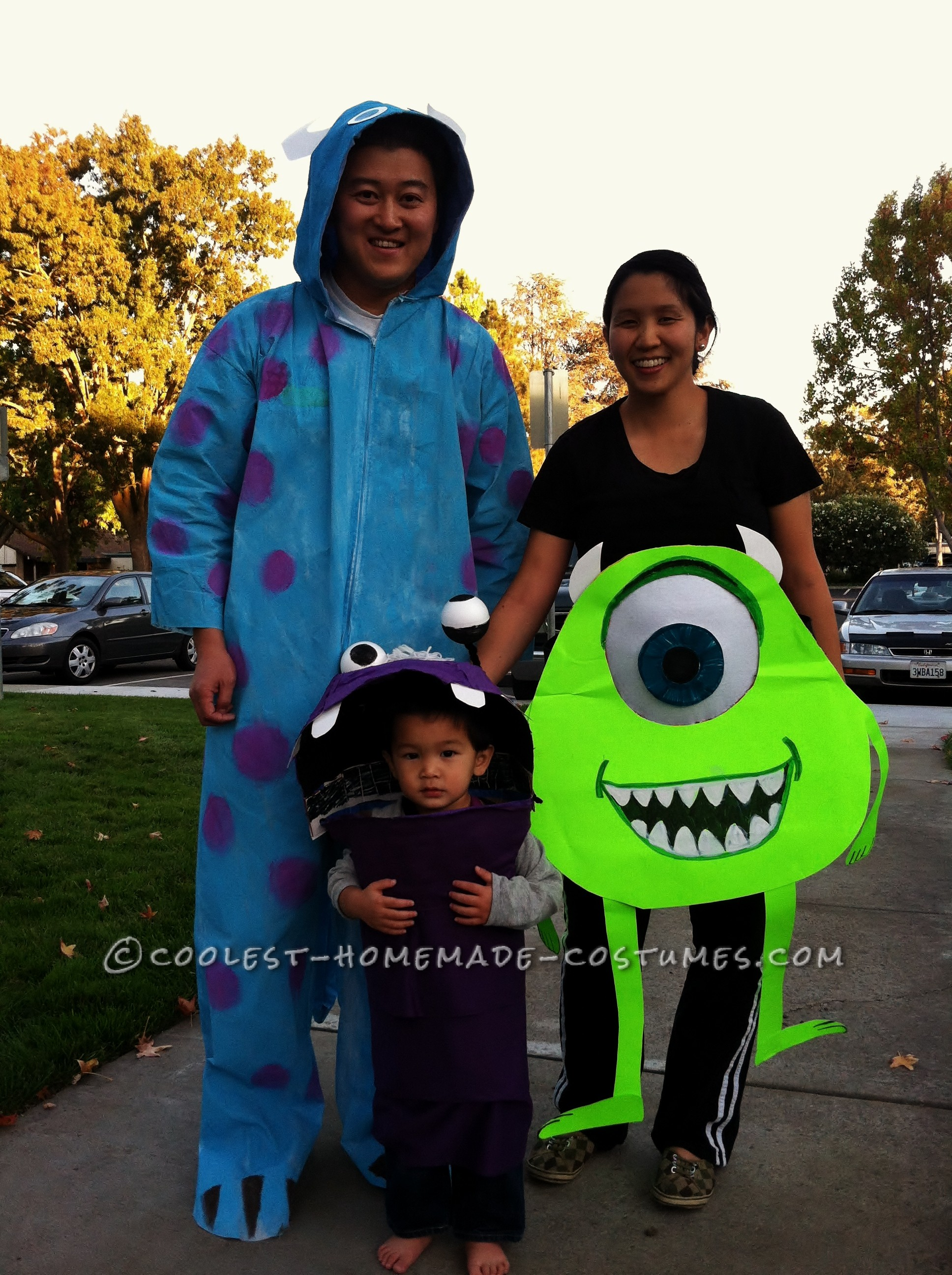 coolest monsters inc. family costume: boo, sully, mike (and mike's