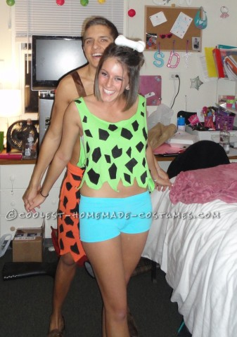 Cute and Sexy Pebbles and Bam Bam Couple Costume