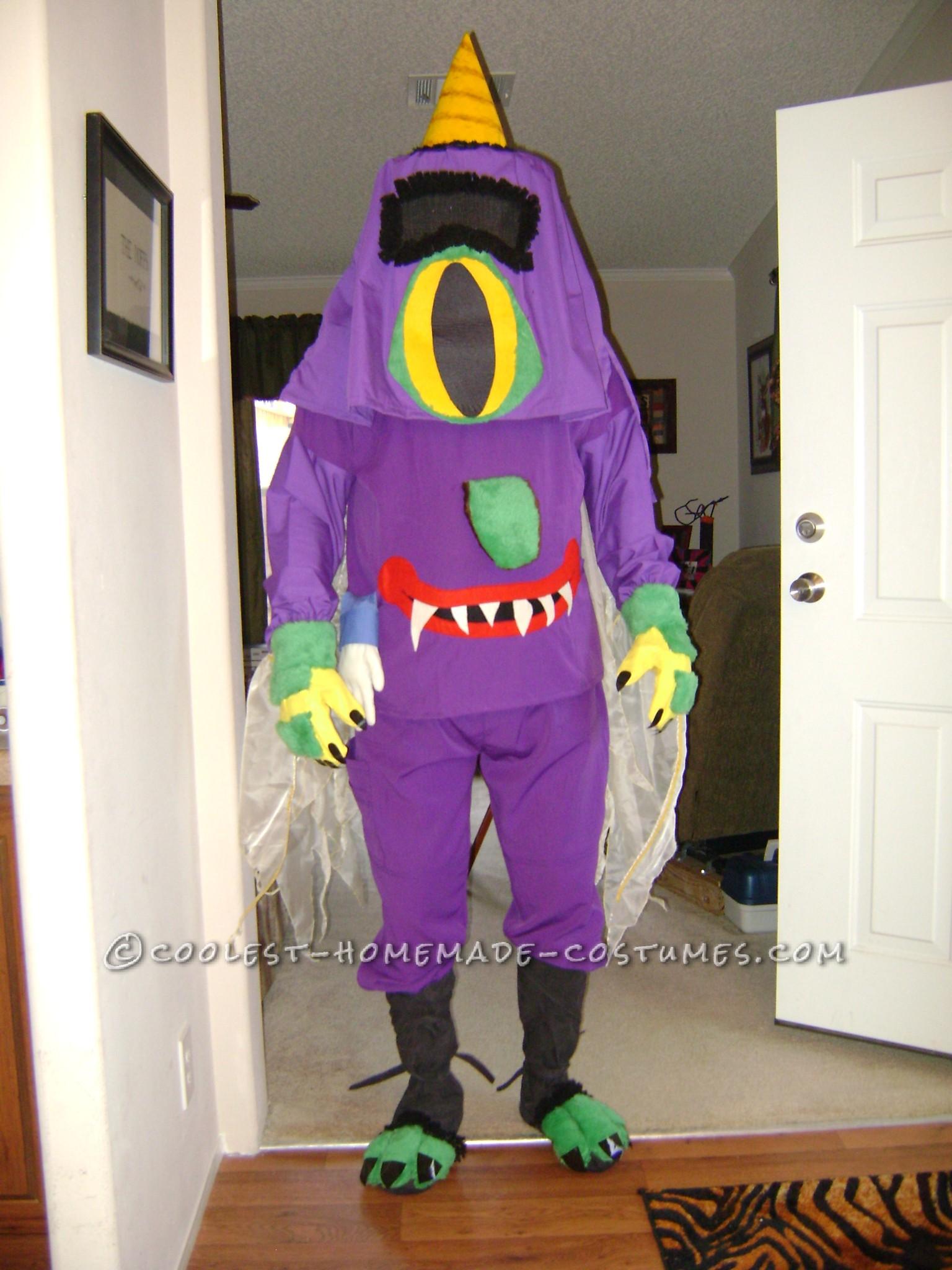 Funny DIY Halloween Costume Idea: Nightmarish Purple People Eater on the Prowl