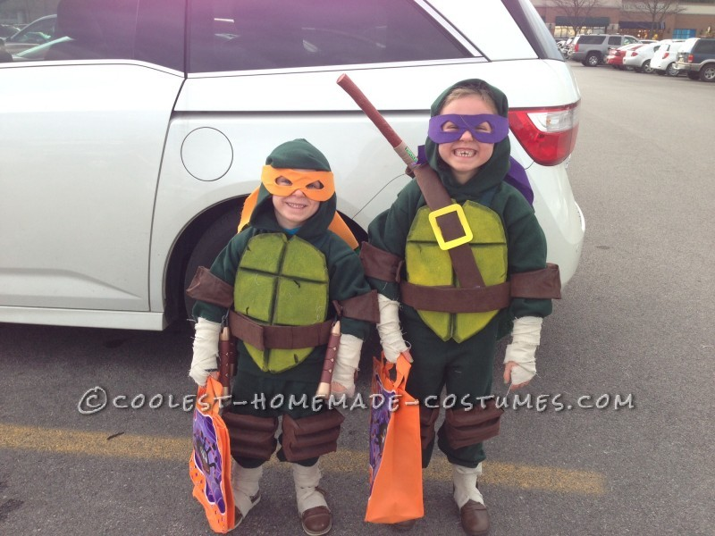 Cool Homemade Ninja Turtles Costumes for Two Children
