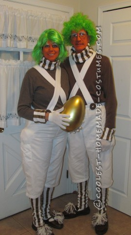 Cool Homemade Oompa Loompa Couple Costume