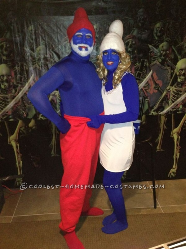 Easy Papa Smurf and Smurfette Halloween Couple Costume