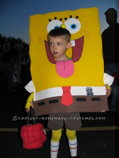 Sponge Bob with Head Poking Through Mouth
