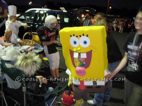Sponge Bob With a Glimpse of an Elastic Shoulder Strap