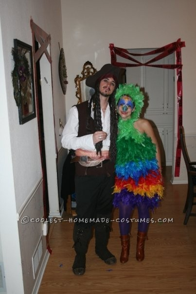 Fun Homemade Pirate and Parrot Couple Costume - 1