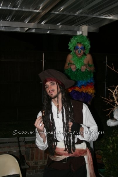 Fun Homemade Pirate and Parrot Couple Costume
