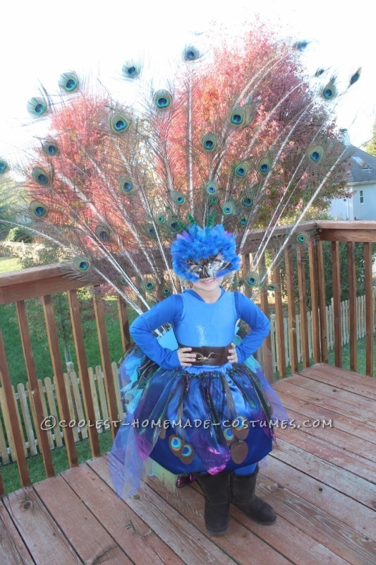Pretty Little Peacock Costume for a Girl - 7
