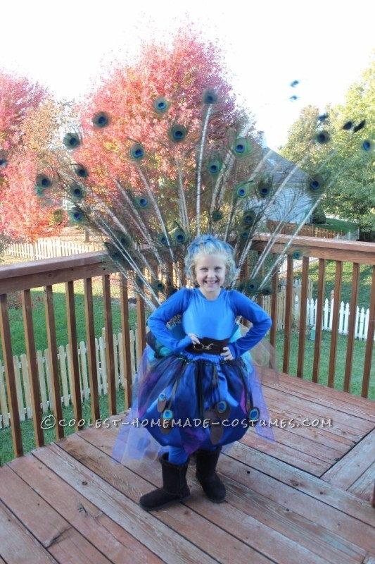 Pretty Little Peacock Costume for a Girl - 4