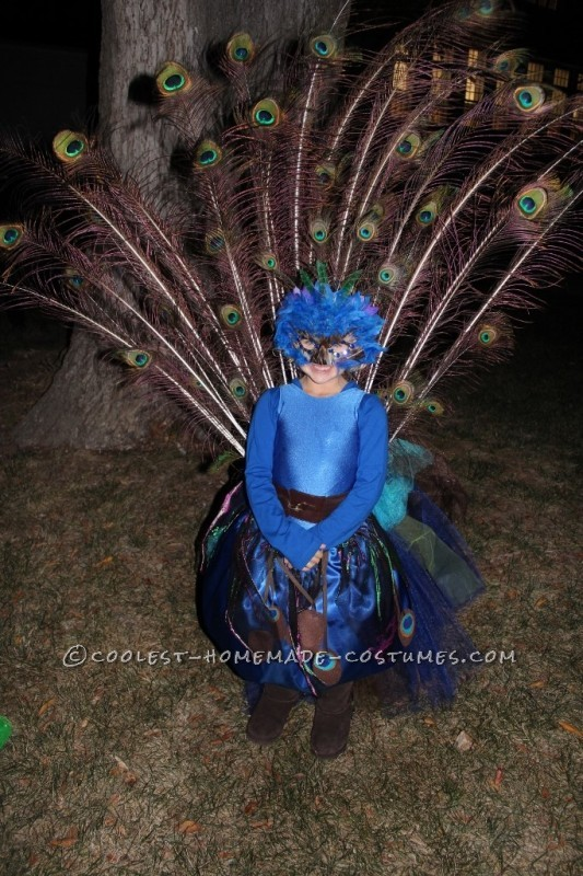 Pretty Little Peacock Costume for a Girl - 3