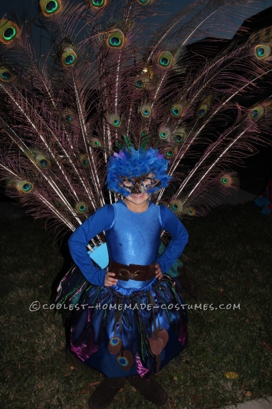 Pretty Little Peacock Costume for a Girl - 2
