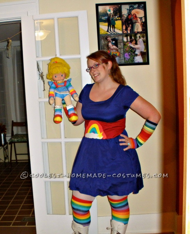 Posing with one of my Rainbow Brite dolls