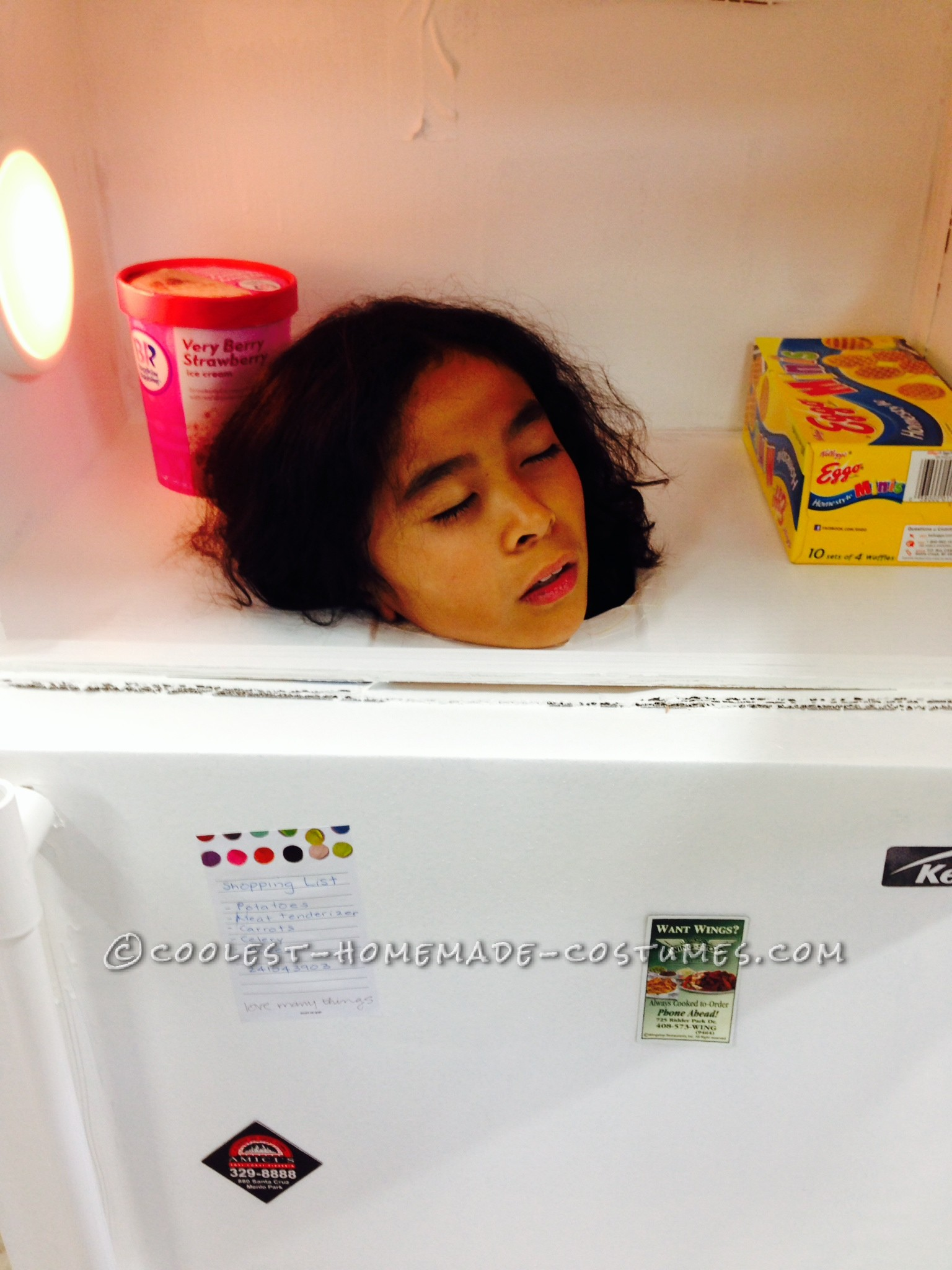 Realistic-Looking Refrigerator Costume with Frozen Head Inside