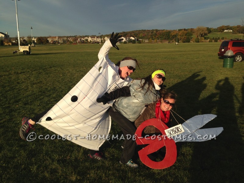 Cheap and Easy All Girl Group Halloween Costume: Rock, Paper, Scissors!