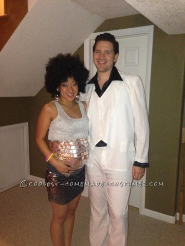 Cool Homemade Pregnancy Costume for a Couple: Saturday Night Fever and the Morning After Disco Ball Belly