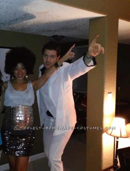 Cool Homemade Pregnancy Costume for a Couple: Saturday Night Fever and the Morning After Disco Ball Belly - 1