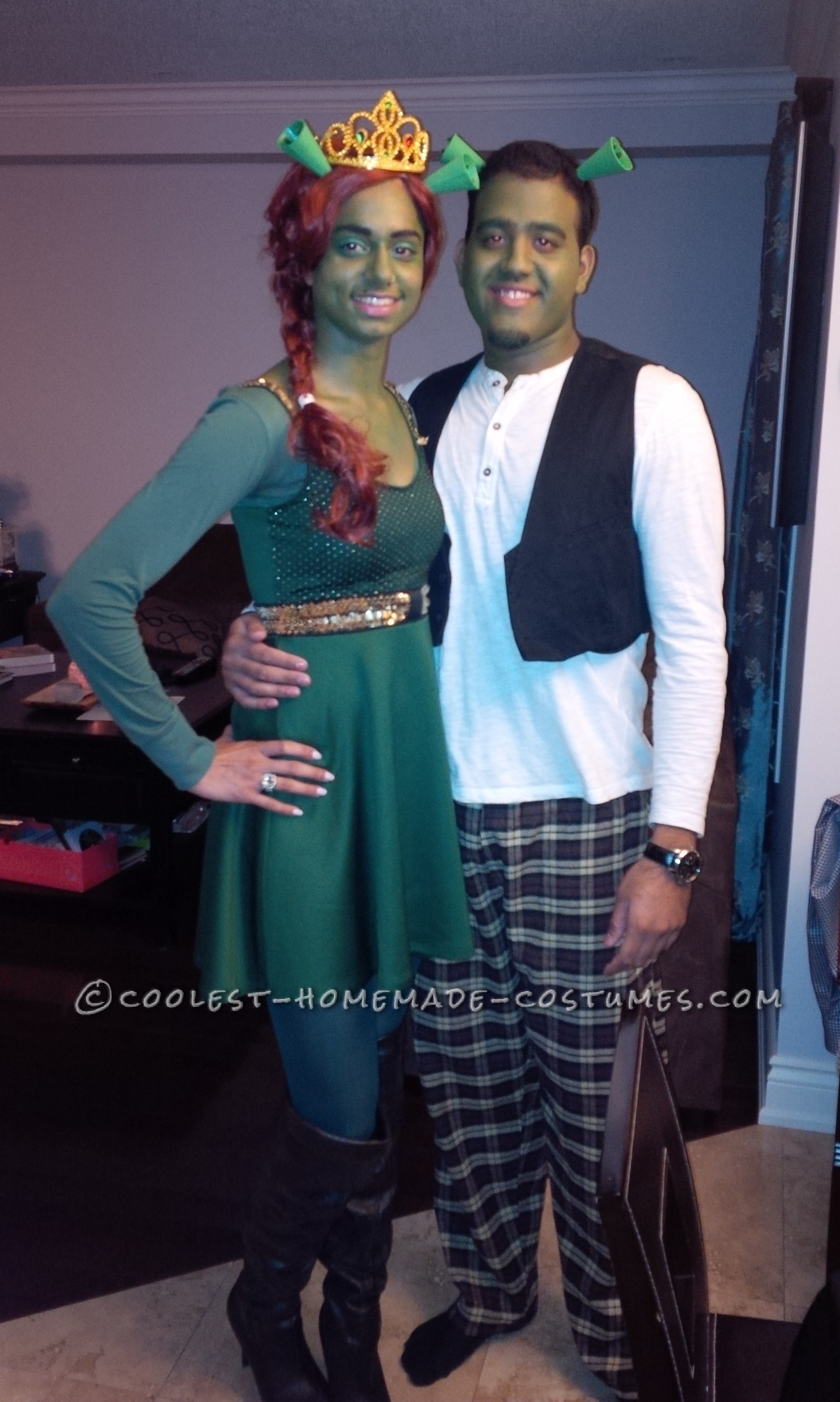 easy diy shrek and fiona couple costume created from scratch