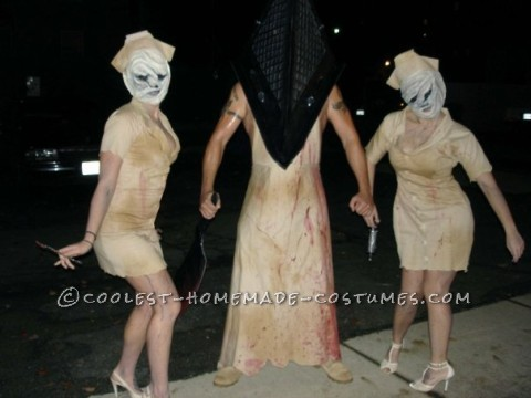 Creepy Homemade Group Costume: Silent Hill Nurses and Pyramid Head