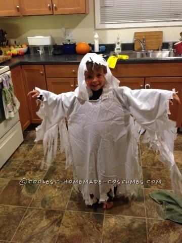 Easy Ghost Costume with a Hood for a Child