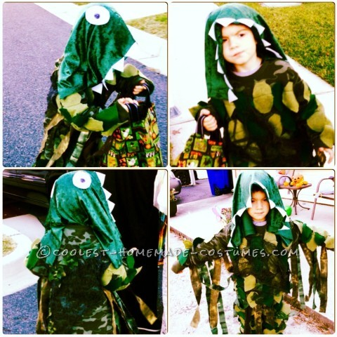 Cool Homemade Swamp Monster Costume for a Boy