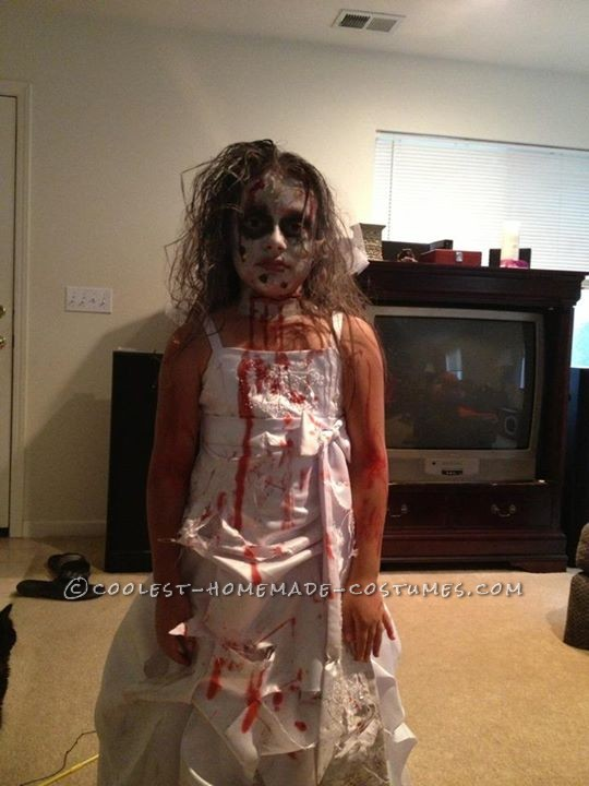 Homemade Zombie Bride Costume for a Girl