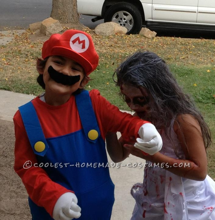 The zombie bride is attacking Mario!