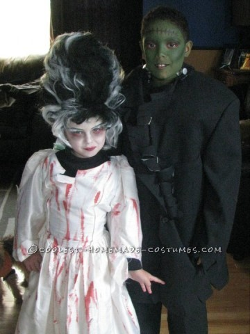 Cool DIY Couple Costume for Children: Frankenstein and Bride of Frankenstein