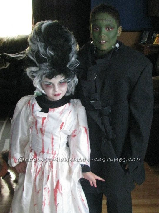 Cool DIY Couple Costume for Children: Frankenstein and Bride of Frankenstein