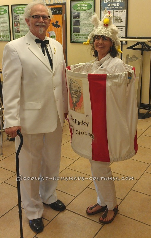 The Colonel and his Bucket of Chicken Homemade Halloween Couple Costume
