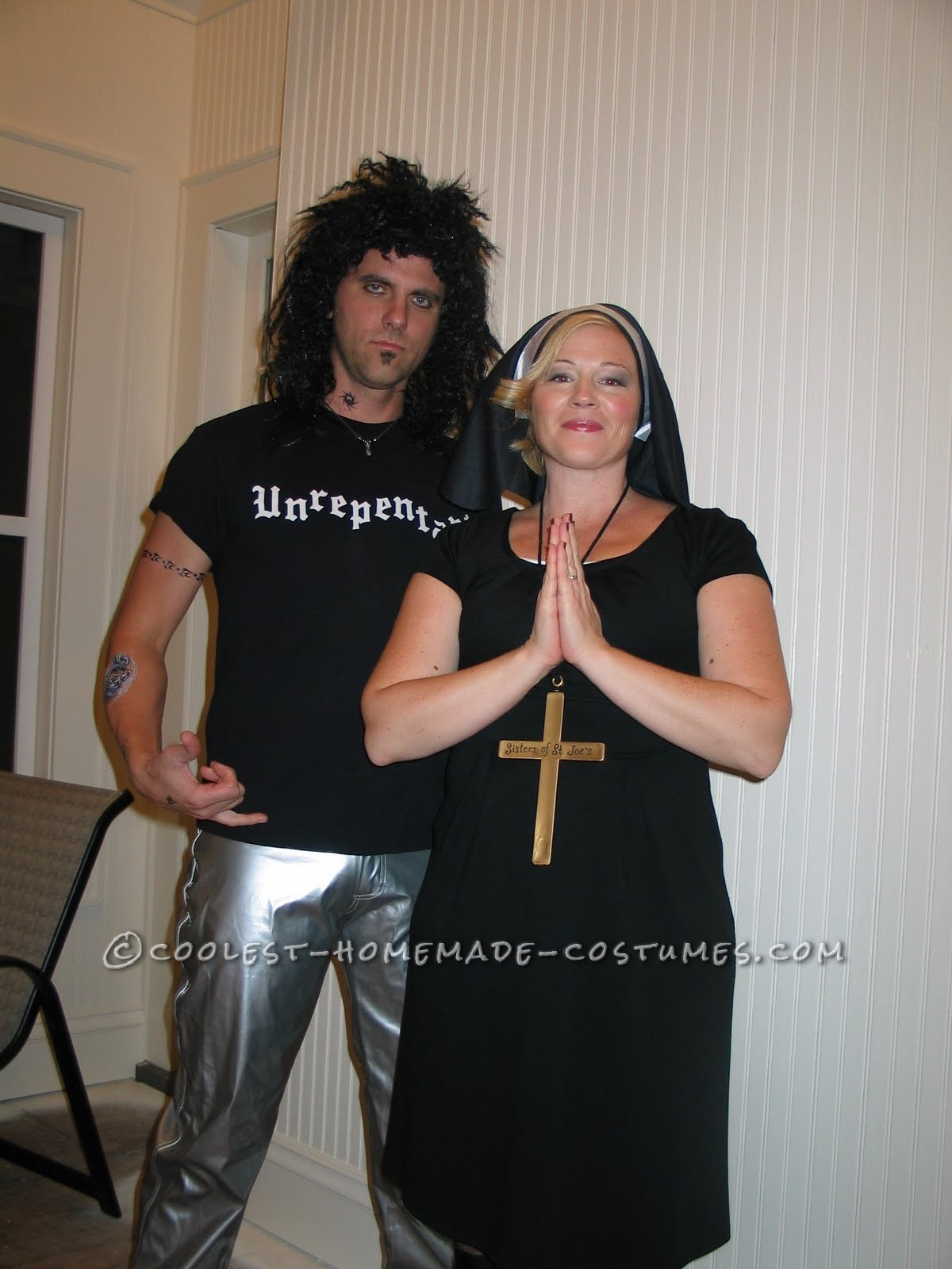 Homemade Couple Costume Idea: The Nun and the Rebel