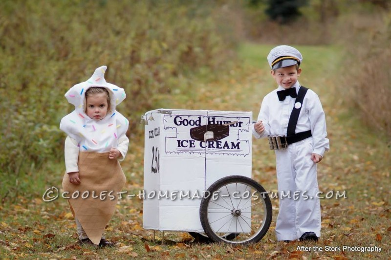 Vintage Good Humor Couple Costume: Ice Cream Man Ice Cream Cone