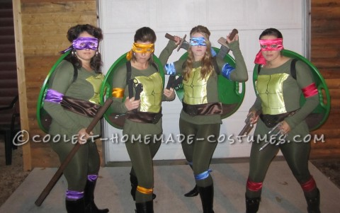 Cool DIY Girl's Group Costume for Under $20: Ninja Turtle Power!