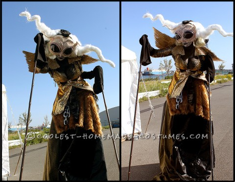 Freaky Bug-Like Costume On Stilts