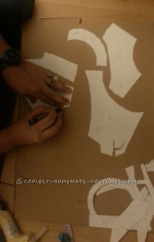 Tracing the template on Cardboard